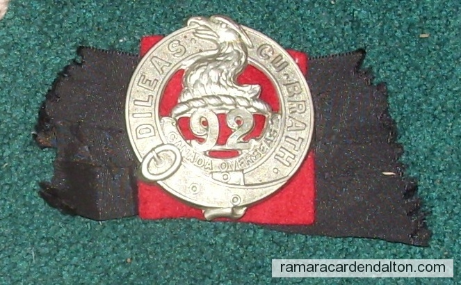 Milton Clarke --92nd Battalion Cap Badge