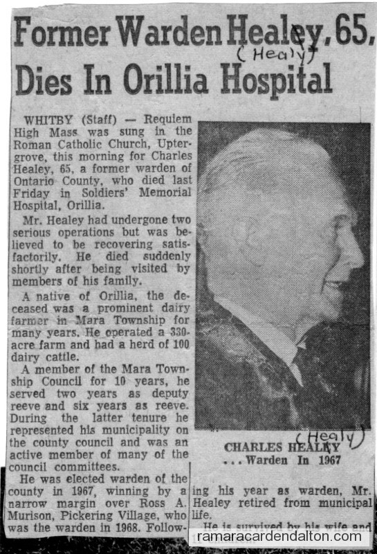 Obituary of Charles Healy