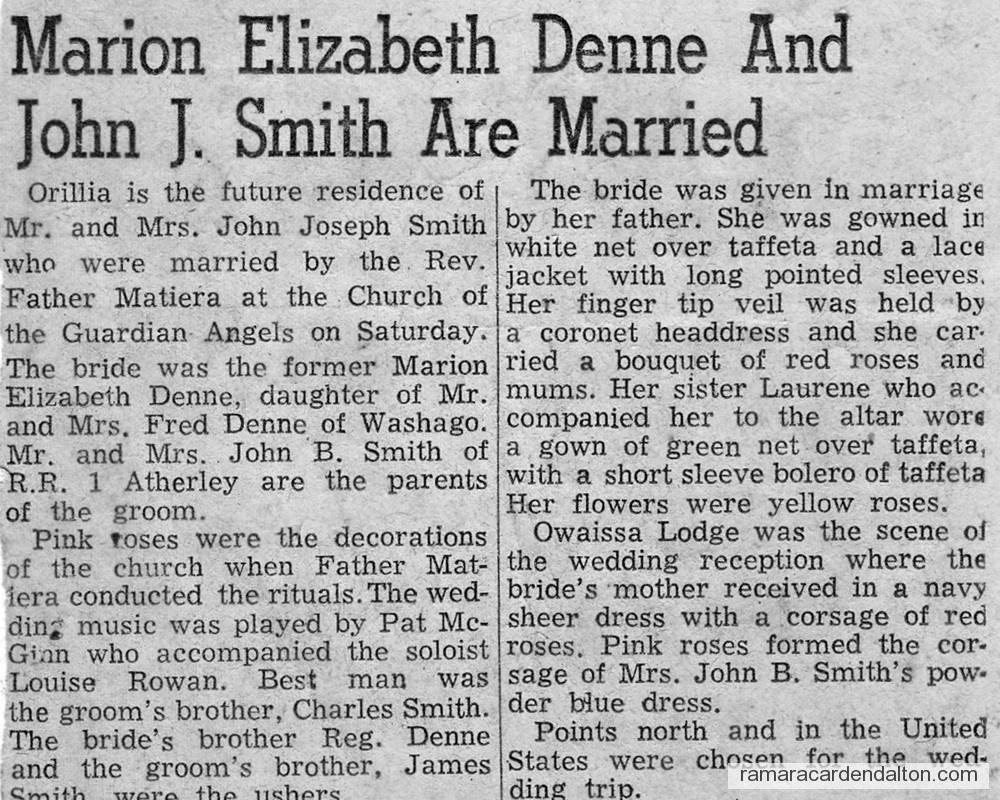 Marion Denne & John J. Smith