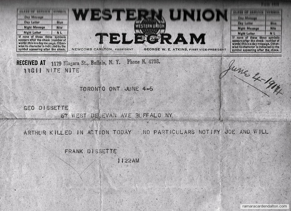 Telegram 1914 for Arthur Dissette
