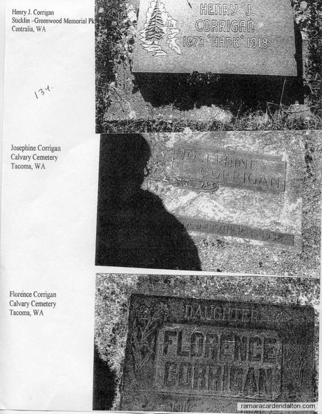 tombstones Henry Corrigan, Josephine & Florence