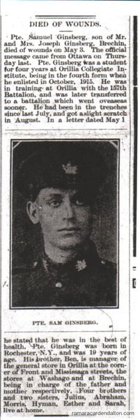 Pte. Sam Ginsberg Article