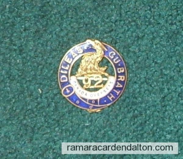 Milton Clarke--92nd Batt. Sweetheart Pin