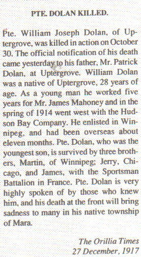 Pte. William J. DOLAN- article