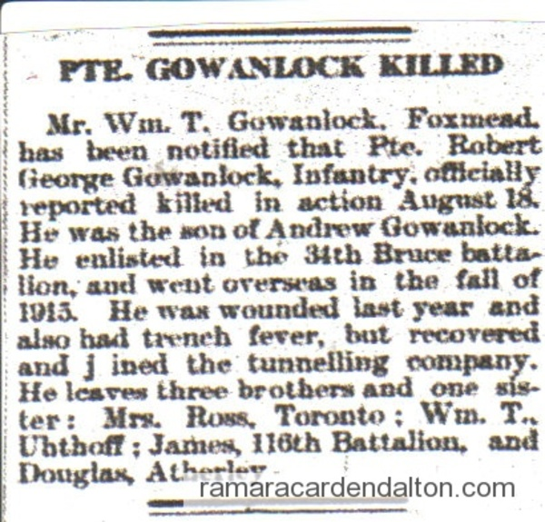 Pte. Robert G. GOWANLOCK- article
