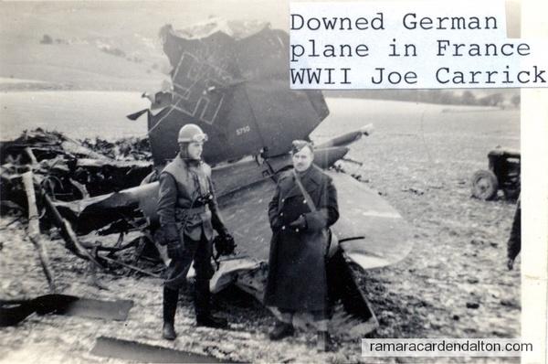 a German plane that crashed near them. Joe Carrick in long coat