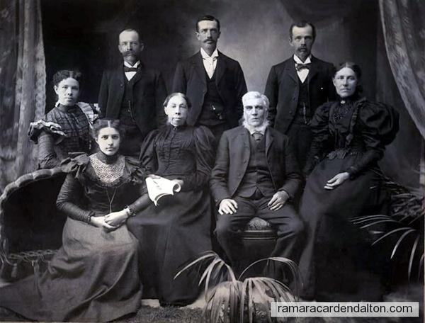 Allewell Family-bottom-left-Marietta, {behind her}Jane Elizabeth, William or Henry, Robert, William or Henry, Rebecca, John & Mary {centre}