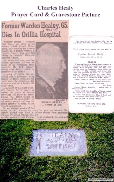 Charles Healy Prayer Card & Gravestone Picture