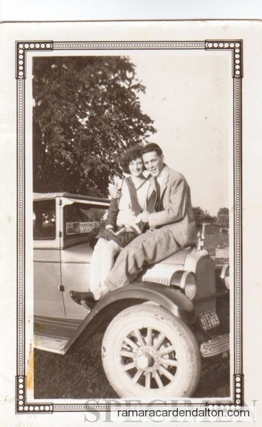 Russ & Louise 1927 on a Whippet car.