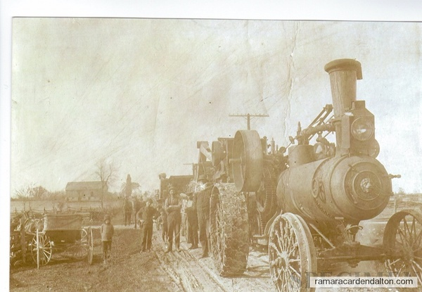 Frederick Lamb and Steam Engine building of Hwy 12 at the 8th Con.Mara