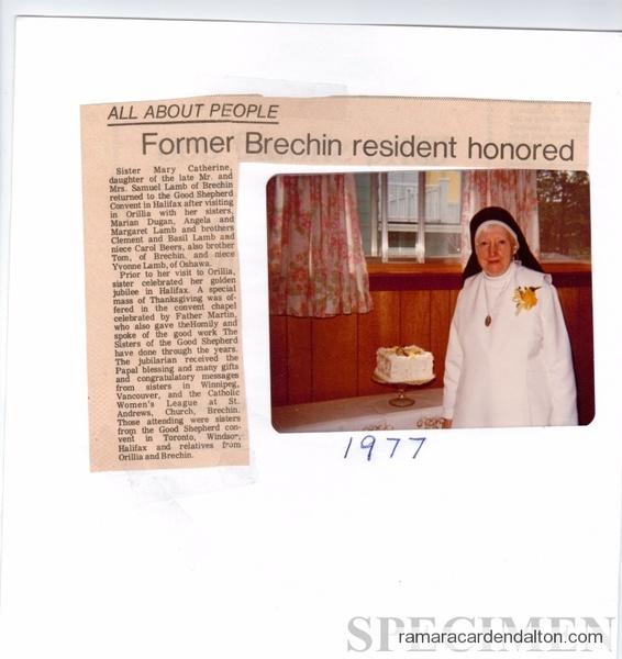 Sister Catherine 1977 Golden Jubilee
