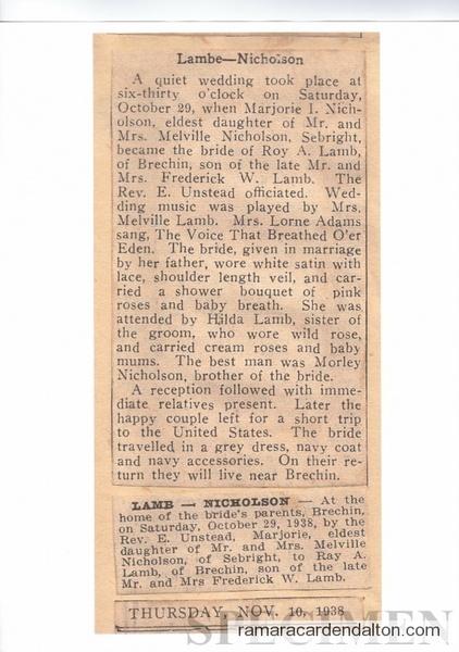 Lamb-Nicholson Wedding 1938