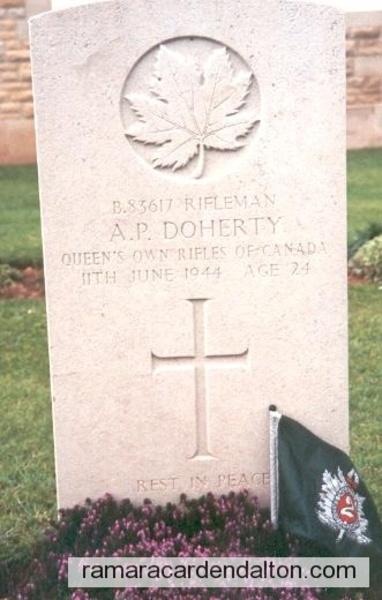 Rifleman Ambrose Patrick Doherty-- Beny-sur-Mer, Canadian War Cemetery, France