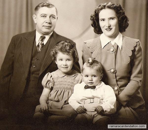 Howard Kelly family, Howard, Dorothy, Ohra, Howard Jr. 1945