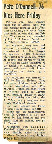 Peter O'Donnell- OBIT- (1882-1958)