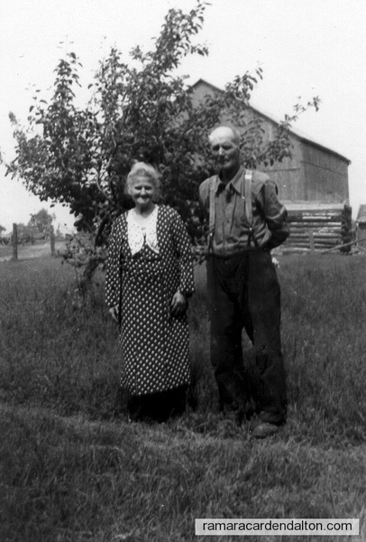 Alice Bull Binsted & Fred Binsted on farm at Uptergrove-c. 1936 (Sideroad 20)