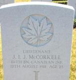 Lt. McCorkell. gravemarker/ Bouchoir New British Cemetery, Somme, France