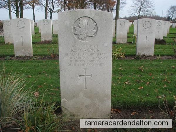 Pte. Raymond Gagnon, K.I.A., Groesbeek Canadian War Cemetery, Netherlands