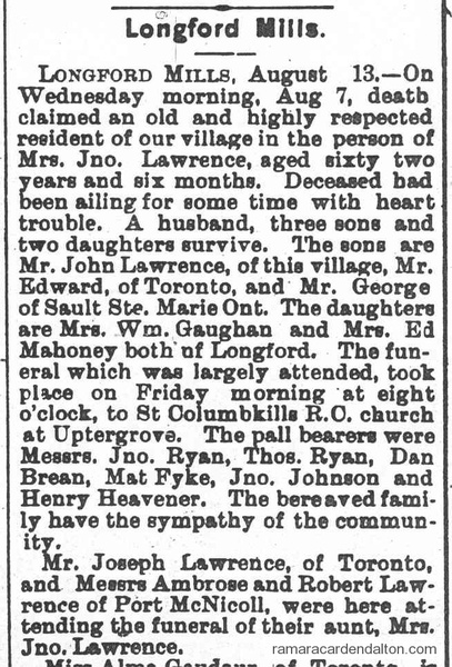 Mary (English) Lawrence Obit 1912