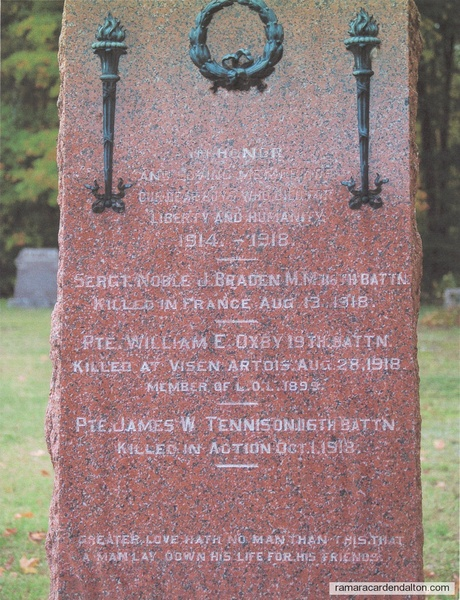 Pte. James Tennison,  Sebright Memorial