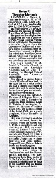 obit of Helen Rita Gravelle, (1918-2000)