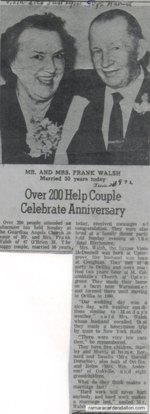 Viola (McDonnell) & Frank Walsh- 50th wedding anniversity.