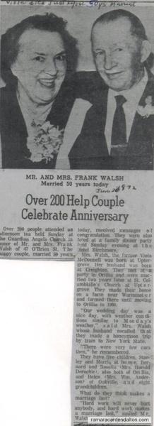 Viola (McDonnell) & Frank Walsh- 50th wedding anniversity.