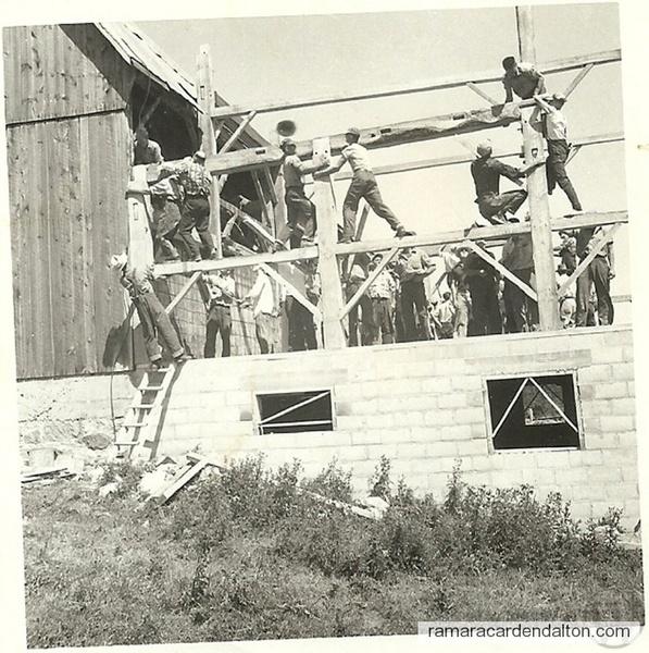 Furnis Barn -Raising of Straw Barn 1934
