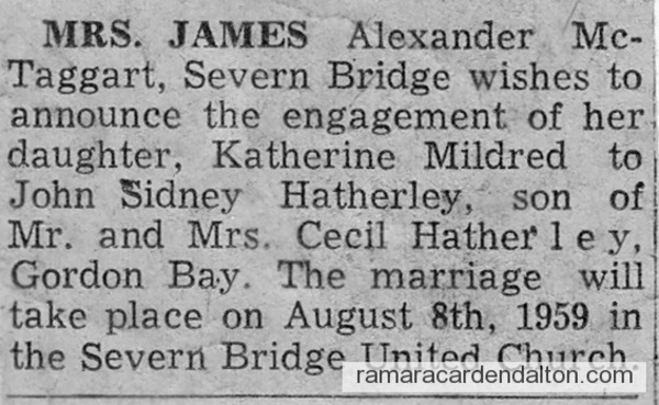 Katherine Mildred McTaggart announcement