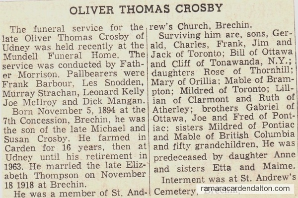 Oliver Crosby Death