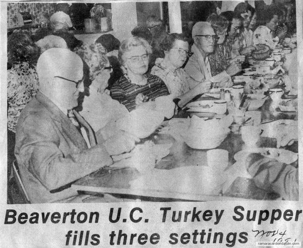 Beaverton U.C. Turkey Supper-Nov. 4, 1981