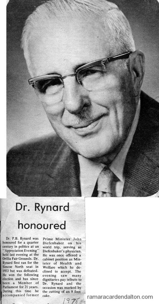 Dr. Rynard honoured-1978