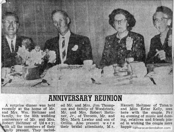 35th Wedding Anniversary for Mr. & Mrs. Robert Heitzner