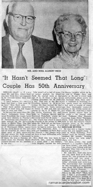Mr. & Mrs. Albert Reid-50th Anniversary