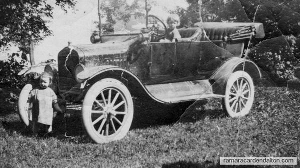 Helen Murphy driving and Aileen Murphy starting 1915 Model T
