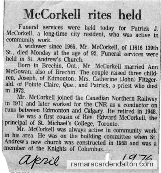 Patrick Joseph McCORKELL- obit 1976