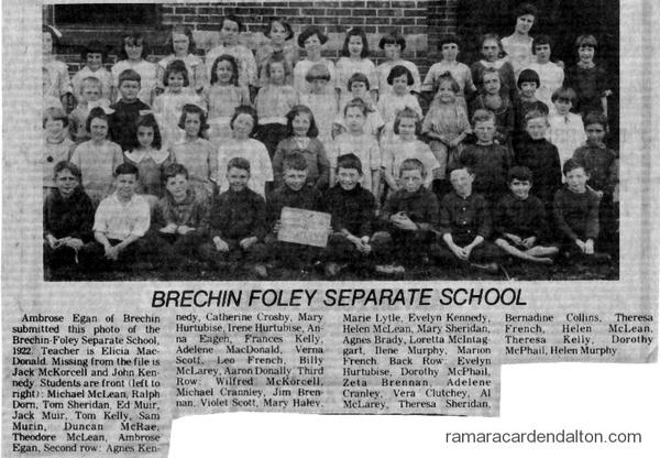 Brechin Foley Separate School, Class of 1922