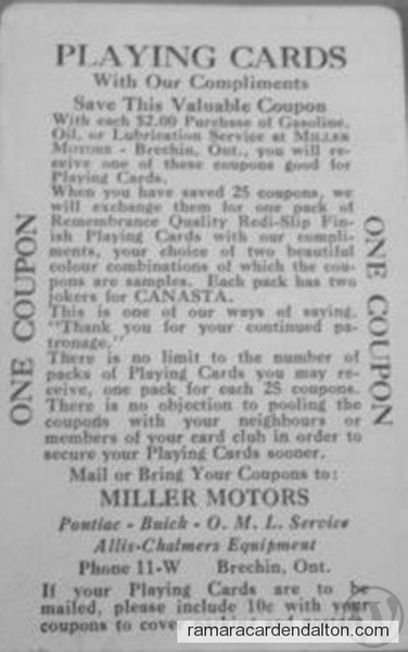 miller motors playing cards (the back)