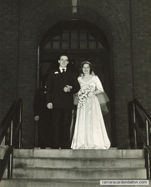 Gertrude and Herbert on the church steps