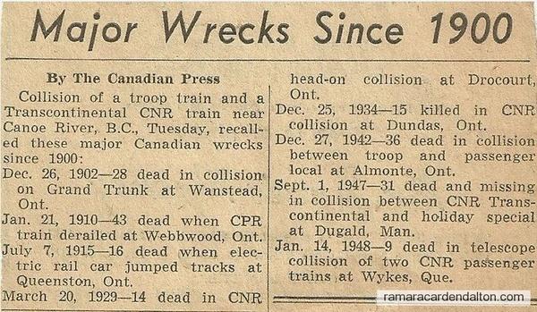 Major Train Wrecks