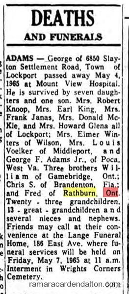 George Adams Obit 1965