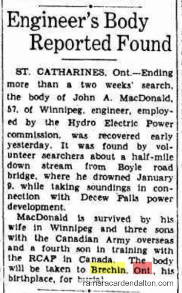 John A MacDonald Death of Brechin 1940's