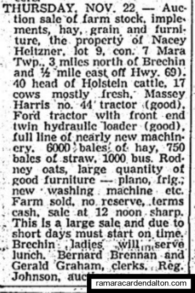 Nacey Heitzner Auction 1962