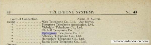 Uptergrove, Atherley,  Mara, Rama and Sebright Telephone company's