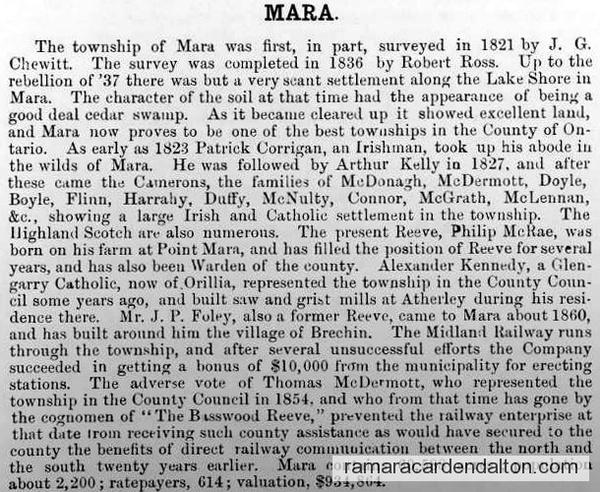 Historical Sketch County Ontario - Mara tp - Hisorical Atlas 1877
