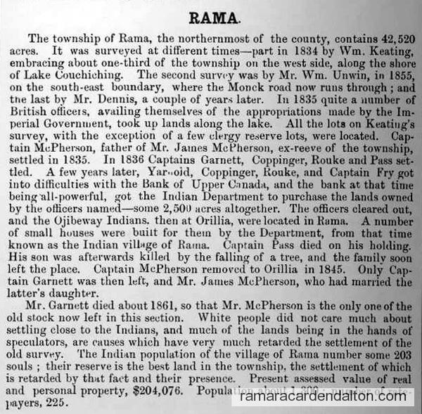 Historical Sketch County Ontario - Rama tp - Hisorical Atlas 1877