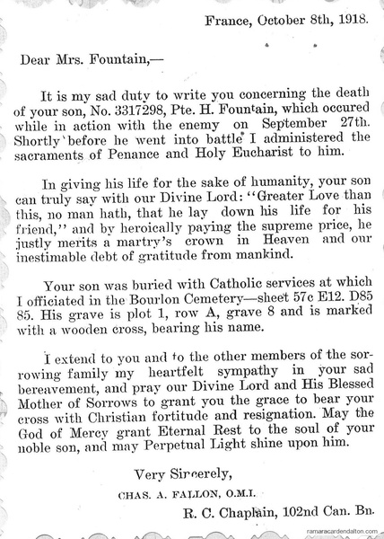 Letter home to Henry Fountain's mother-Oct. 8, 1918