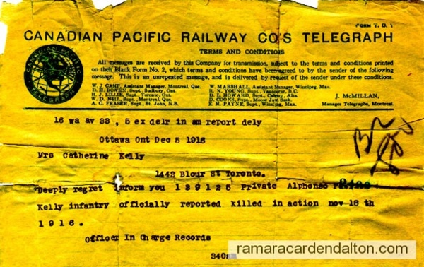 Alphonse Kelly death telegram