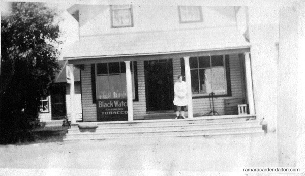 Mahoney Store, Uptergrove, Mary Doherty (in front)