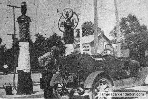 Mike Harrington Sr, getting gas in Brechin